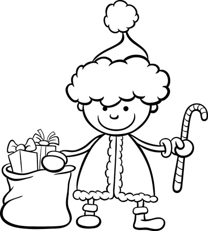 Black and White Cartoon Illustration of Santa Claus Boy Character with Christmas Cane and Bag of Presents for Coloring Book Vector
