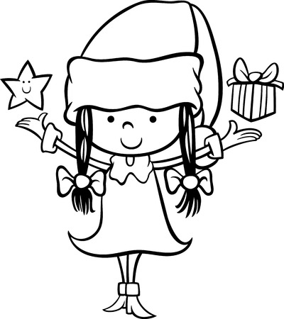 Black and White Cartoon Illustration of Santa Claus Girl Character with Christmas Star and Present for Coloring Book Vector