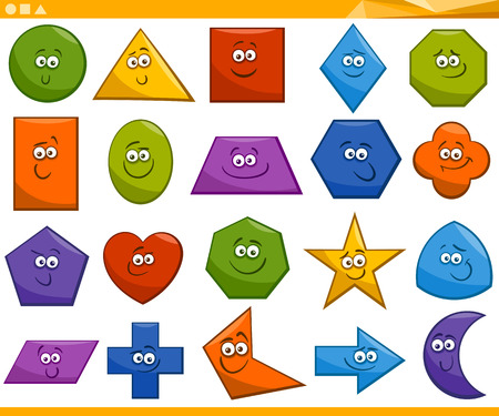 Cartoon Illustration of Basic Geometric Shapes Funny Characters for Children Education Vectores