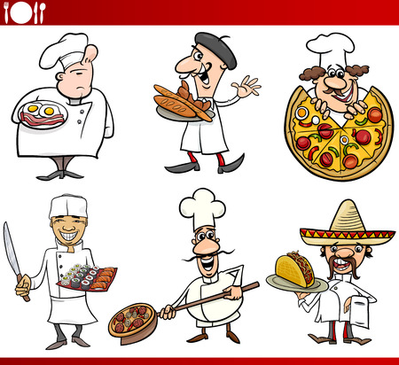Cartoon Illustration of Funny International Cuisine Chefs with Food Dishes