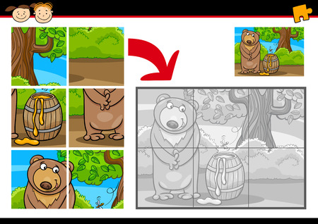 Cartoon Illustration of Education Jigsaw Puzzle Game for Preschool Children with Funny Bear Animal