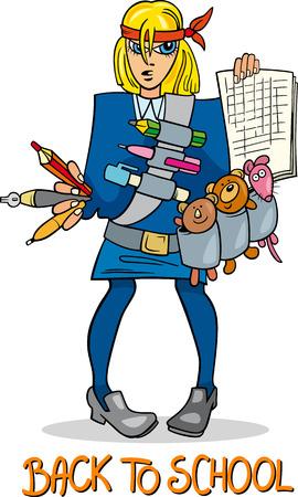 cartoon school girl: Cartoon Humorous Illustration of Teenage Girl Student Coming Back to School