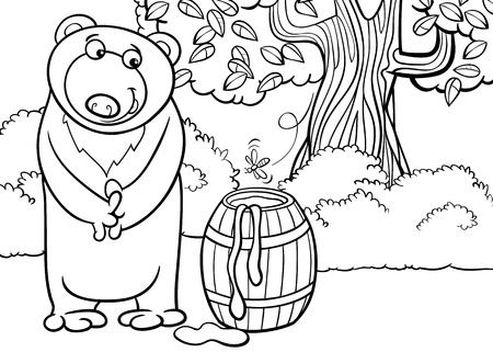 Black and White Cartoon illustration Vector
