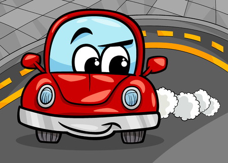 Cartoon Illustration of Funny Retro Car Vehicle Character on the Road