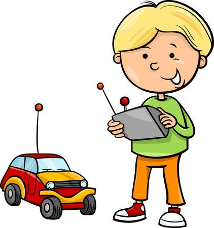 toy car: Cartoon Illustration of Cute Boy with Remote Toy Car