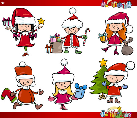 Cartoon Illustration of Children in Santa Claus Costumes with Presents and other Christmas Themes Set Vector