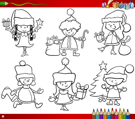 Coloring Book Cartoon Illustration of Black and White Christmas Themes Set with Children in Santa Claus Costumes Ilustração