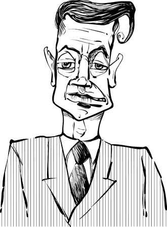 statesman: Black and White Drawing Illustration of Man i Suit Caricature Sketch