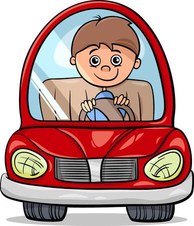 Cartoon Illustration of Cute Boy in Toy Electric Car
