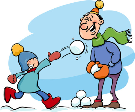 snowballs: Cartoon Illustration of Father and Little Son Throwing Snowballs and Having Fun on Winter Time Illustration