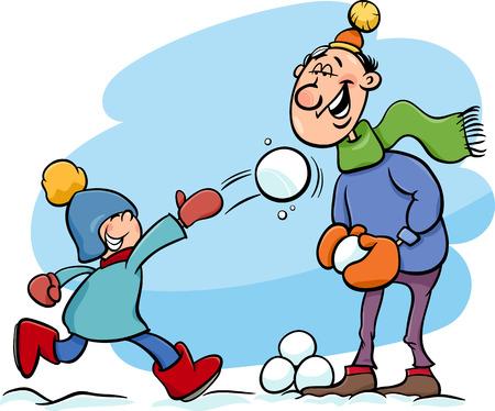 palle di neve: Cartoon illustrazione di padre e figlio piccolo lanciando palle di neve e il divertimento su Winter Time Vettoriali