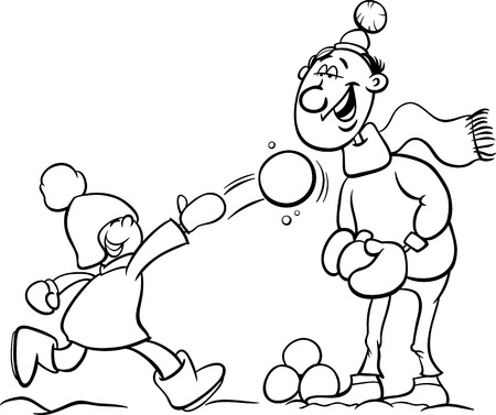 having fun in winter time: Black and White Cartoon Illustration of Father and Little Son Throwing Snowballs and Having Fun on Winter Time for Coloring Book