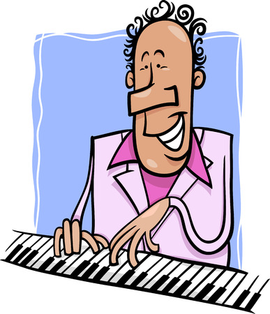 funny people: Cartoon Illustration of Pianist or Jazz Musician Playing the Piano or Keyboard Instrument