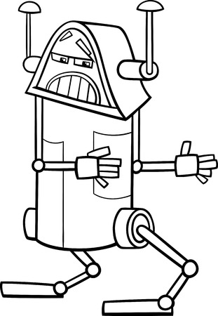 Black and White Cartoon Illustration of Funny Fantasy Robot Character for Coloring Book Vector