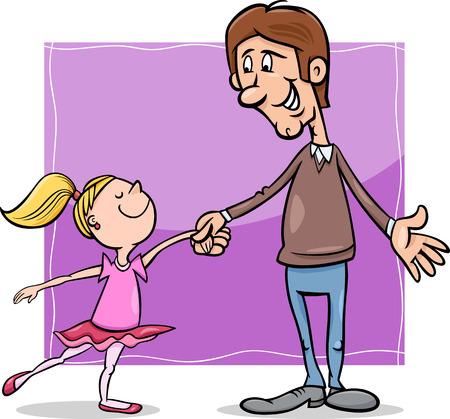 Cartoon Illustration of Father and Little Daughter Dancing Ballet Illusztráció
