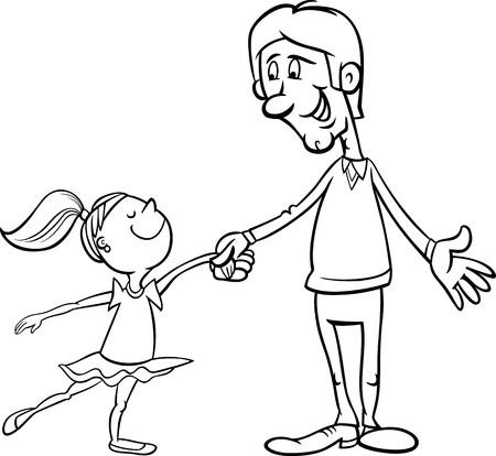 the proud: Black and White Cartoon Illustration of Father and Little Daughter Dancing Ballet for Coloring Book Illustration