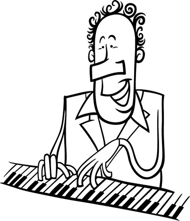 Black and White Cartoon Illustration of Pianist or Jazz Musician Playing the Piano or Keyboard Instrument for Coloring Book Vector