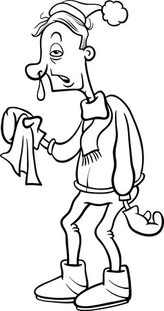 snot: Black and White Cartoon Humorous Illustration of a Man with a Flu and Running Nose for Coloring Book