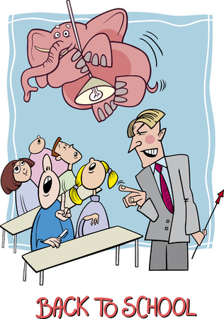 Cartoon Humorous Illustration of Teenagers Students in the Classroom with Angry Teacher and Elephant on the Lamp Vector