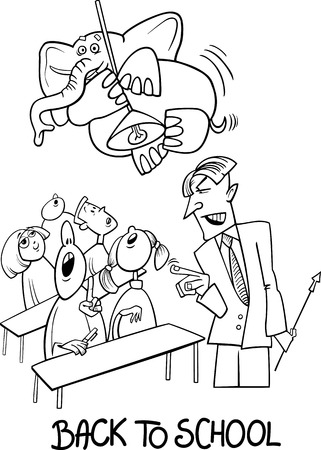Black and White Cartoon Humorous Illustration of Teenagers Students in the Classroom with Angry Teacher and Elephant on the Lamp for Coloring Book Vector