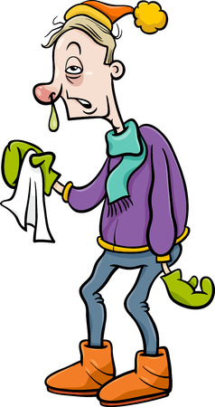 flu: Cartoon Humorous Illustration of a Man with a Flu and Running Nose