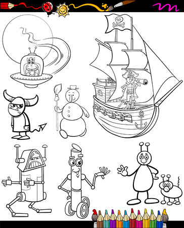Coloring Book or Page Cartoon Illustration of Black and White Funny Running Fruits Group for Children Vector