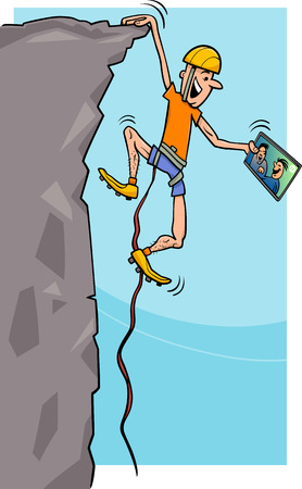 mountaineer: Cartoon Humorous Illustration of a Climber Man watching Movie on Tablet PC