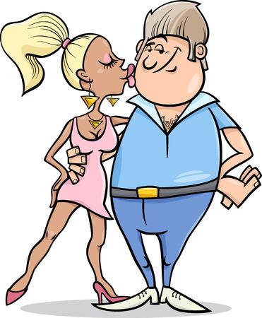 eccentric: Cartoon Illustration of Eccentric Couple in Love