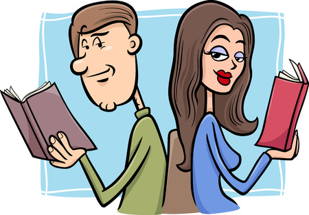 first sight: Cartoon Illustration of Young Couple in Love at First Sight