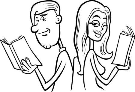 Black and White Cartoon Illustration of Young Couple in Love at First Sight for Coloring Book Vector