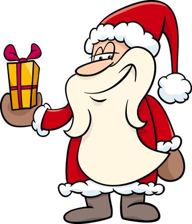papa noel: Cartoon Illustration of Santa Claus Character with Christmas Present