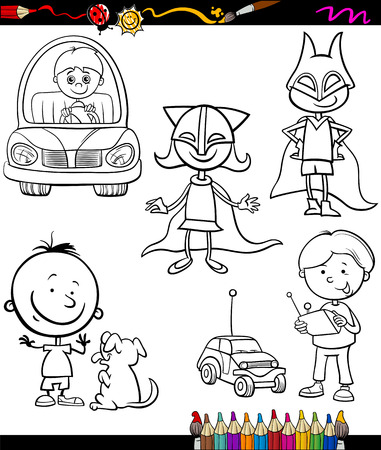 Coloring Book or Page Cartoon Illustration of Color and Black and White Happy Children Set Vector
