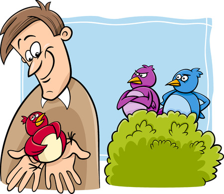 Cartoon Humor Concept Illustration of A Bird in the Hand is Worth Two in the Bush Saying or Proverb