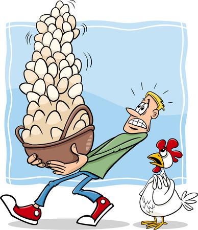 Cartoon Humor pojetí ilustrace Nenechte si dát všechny své vejce do jednoho košíku říkají nebo přísloví Ilustrace