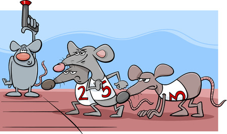 races: Cartoon Humor Concept Illustration of Rat Race Saying or Proverb