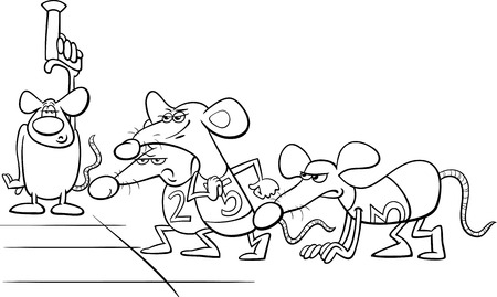 Black And White Cartoon Humor Concept Illustration Of Rat Race Saying Or Proverb For Coloring Book
