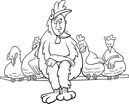 roost: Black and White Cartoon Humor Concept Illustration of Ruler of the Roost Saying or Proverb for Coloring Book Illustration