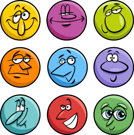 Cartoon Illustration of Funny Comics Characters or Faces Set Vector