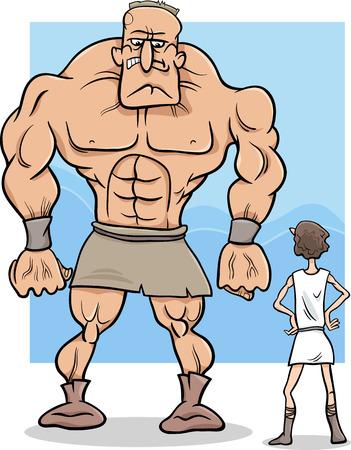 다윗과 골리앗 신화 또는 말하는 만화 개념 그림 일러스트