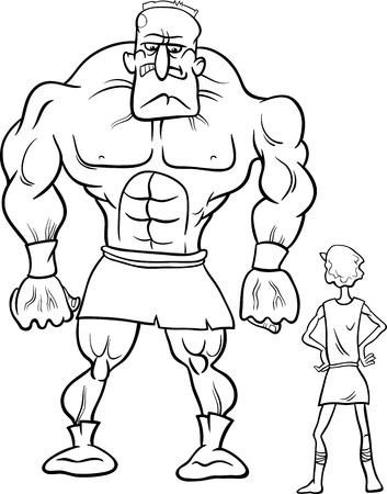 Black and White Cartoon Concept Illustration of David and Goliath Myth or Saying for Coloring Book Illustration