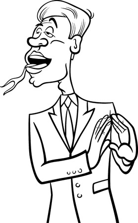 forked: Black and White Cartoon Humor Concept Illustration of Speaking with Forked Tongue Saying or Proverb