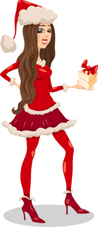 christmas costume: Cartoon Illustration of Beautiful Girl or Woman in Santa Claus Costume with present on Christmas Time