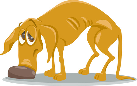 Cartoon Illustration of Sad Homeless Dog Animal