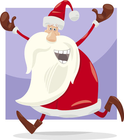 Cartoon Illustration of Happy Santa Claus on Christmas Time