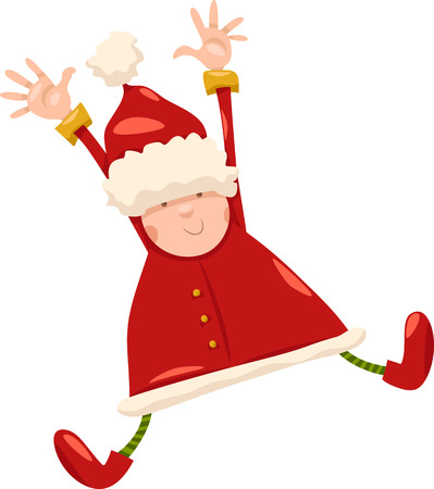 Cartoon Illustration of Happy Jumping Santa Claus or Elf Character Vector