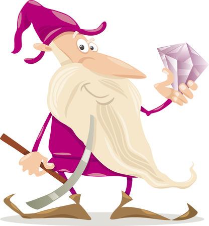 pick ax: Cartoon Illustration of Fantasy Dwarf with Diamond and Pick Ax Illustration