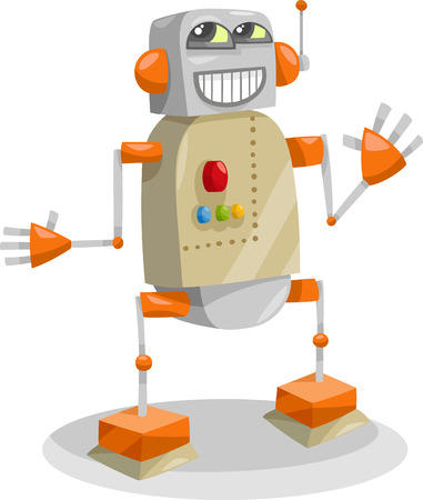droid: Cartoon Illustration of Happy Robot or Droid