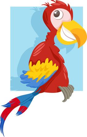 macaw parrot: Cartoon Illustration of Funny Macaw Parrot Bird Clip Art