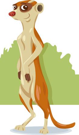Cartoon Illustration of Cute Meerkat Animal