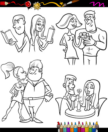 love at first sight: Coloring Book or Page Cartoon Illustration of Color and Black and White Happy Couples in Love